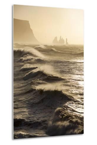 Iceland, Reynisfjara. Waves Breaking on Reynisfjara Beach-Katie Garrod-Metal Print