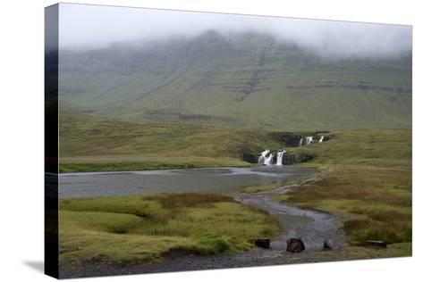 A Rural Landscape in Iceland with Fields and Mountains as Well as a Small Waterfall-Natalie Tepper-Stretched Canvas Print