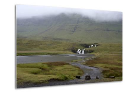 A Rural Landscape in Iceland with Fields and Mountains as Well as a Small Waterfall-Natalie Tepper-Metal Print
