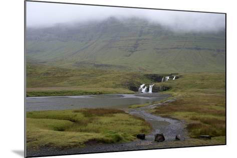A Rural Landscape in Iceland with Fields and Mountains as Well as a Small Waterfall-Natalie Tepper-Mounted Photo