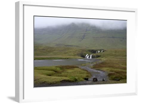 A Rural Landscape in Iceland with Fields and Mountains as Well as a Small Waterfall-Natalie Tepper-Framed Art Print