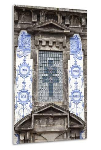 Detail of the Azulejos Adorned Front Facade of the Church of Saint Lldefonso Porto Portugal-Julian Castle-Metal Print