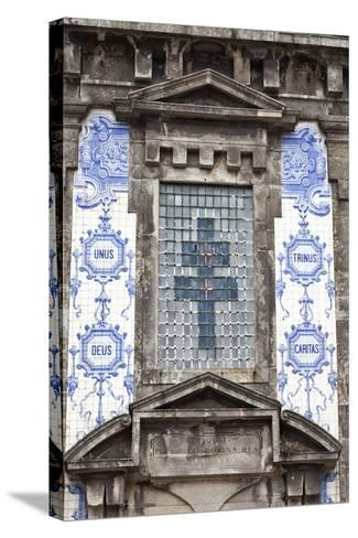 Detail of the Azulejos Adorned Front Facade of the Church of Saint Lldefonso Porto Portugal-Julian Castle-Stretched Canvas Print