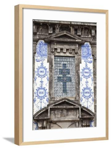 Detail of the Azulejos Adorned Front Facade of the Church of Saint Lldefonso Porto Portugal-Julian Castle-Framed Art Print