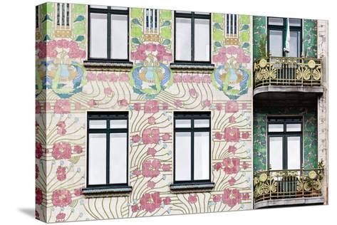 Facade of Jugendstil Style Majolikahaus (Majolica) House at No-Julian Castle-Stretched Canvas Print