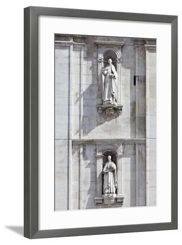 Detail of the Classical and Baroque Style Front Facade of Cathedral Se Nova Coimbra Portugal-Julian Castle-Framed Art Print