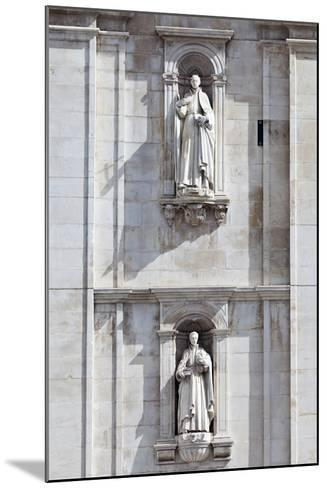 Detail of the Classical and Baroque Style Front Facade of Cathedral Se Nova Coimbra Portugal-Julian Castle-Mounted Photo