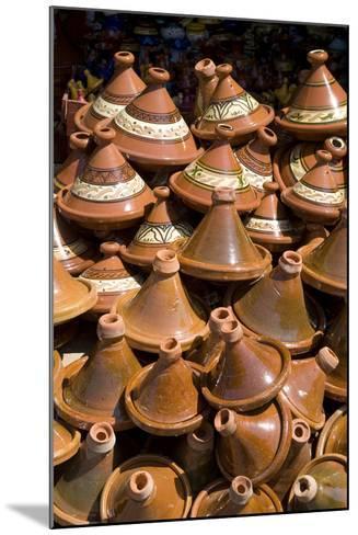 Traditional Tagine Pots, Souk Near Bab Agnou (One of the City Gates), Marrakech, Morocco-Natalie Tepper-Mounted Photo