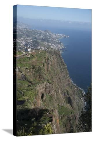 Down to Funchal from Platform at Cabo Girao Second Highest Cliff in World at 589 Metres Portugal-Natalie Tepper-Stretched Canvas Print