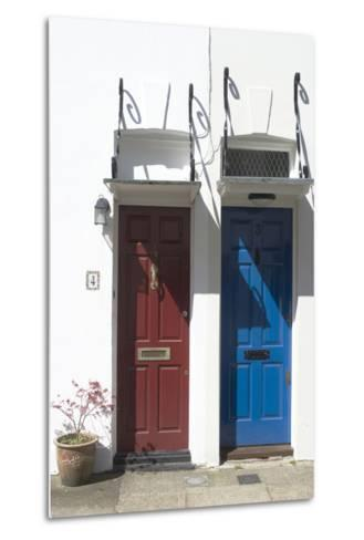 Matching Red and Blue Doors-Natalie Tepper-Metal Print