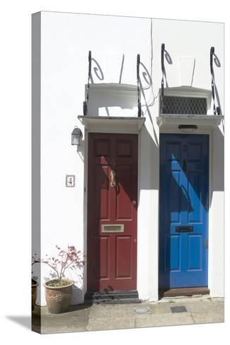 Matching Red and Blue Doors-Natalie Tepper-Stretched Canvas Print