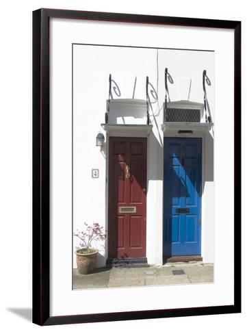 Matching Red and Blue Doors-Natalie Tepper-Framed Art Print