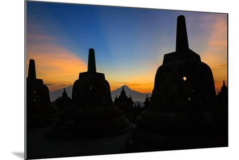 Indonesia, Java, Borobudur. Sunrise over the Active Stratovolcano-Nigel Pavitt-Mounted Photographic Print