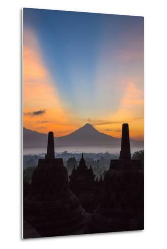 Indonesia, Java, Borobudur. Sunrise over the Active Stratovolcano-Nigel Pavitt-Metal Print