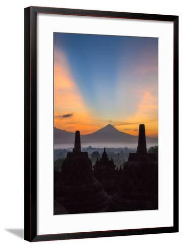Indonesia, Java, Borobudur. Sunrise over the Active Stratovolcano-Nigel Pavitt-Framed Art Print