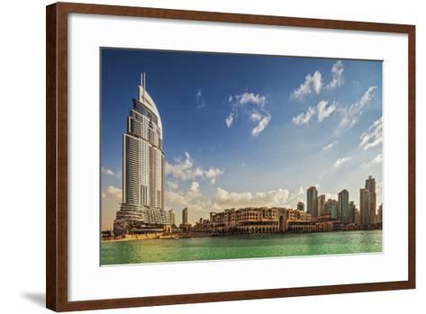 The 5 Star Address Downtown Dubai Hotel Designed by Architects Atkins and Souk Al Bahar-Cahir Davitt-Framed Art Print