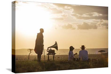Kenya, Mara North Conservancy. a Couple Enjoy a Sundowner in the Mara-Niels Van Gijn-Stretched Canvas Print