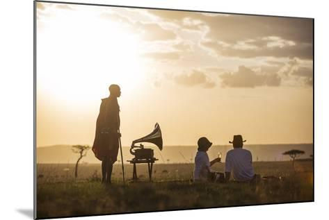 Kenya, Mara North Conservancy. a Couple Enjoy a Sundowner in the Mara-Niels Van Gijn-Mounted Photographic Print