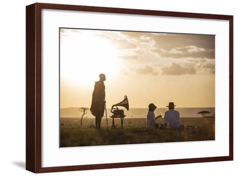 Kenya, Mara North Conservancy. a Couple Enjoy a Sundowner in the Mara-Niels Van Gijn-Framed Art Print