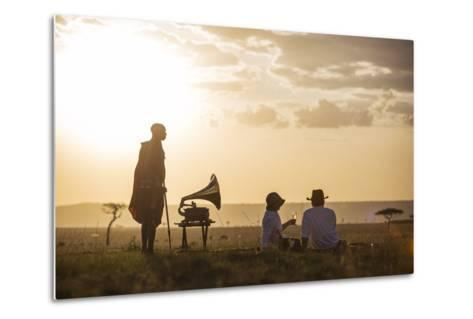 Kenya, Mara North Conservancy. a Couple Enjoy a Sundowner in the Mara-Niels Van Gijn-Metal Print