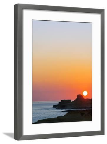 Mediterranean Europe, Malta, Gozo Island, Sunrise over Xwejni Bay-Christian Kober-Framed Art Print