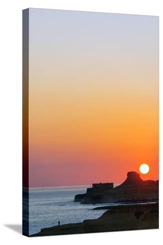 Mediterranean Europe, Malta, Gozo Island, Sunrise over Xwejni Bay-Christian Kober-Stretched Canvas Print