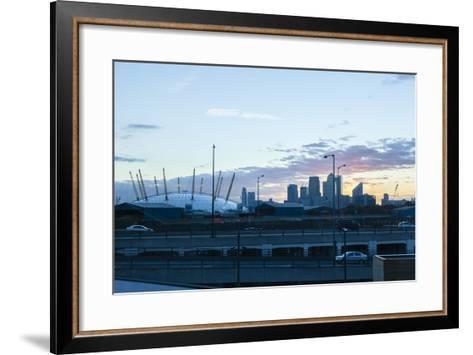 City Skyline Showing the O2 Arena and Canary Wharf London. Uk-David Cabrera-Framed Art Print