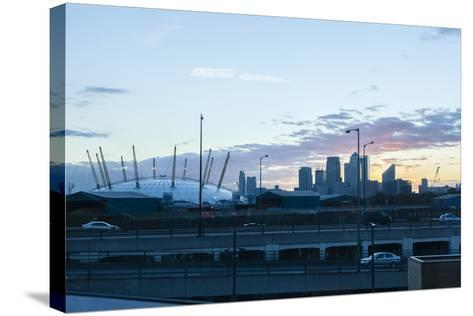 City Skyline Showing the O2 Arena and Canary Wharf London. Uk-David Cabrera-Stretched Canvas Print