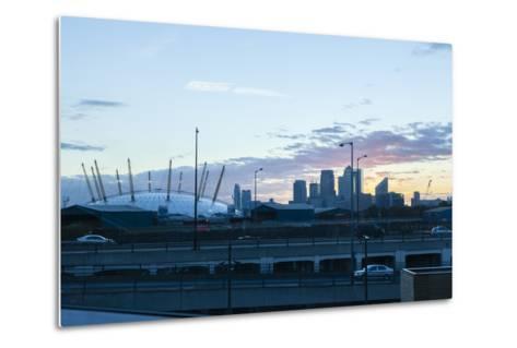 City Skyline Showing the O2 Arena and Canary Wharf London. Uk-David Cabrera-Metal Print