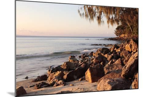 Warm Glow of Sunset on a Boulder-Strewn Beach on Noosa Heads, the Sunshine Coast, Queensland-William Gray-Mounted Photographic Print