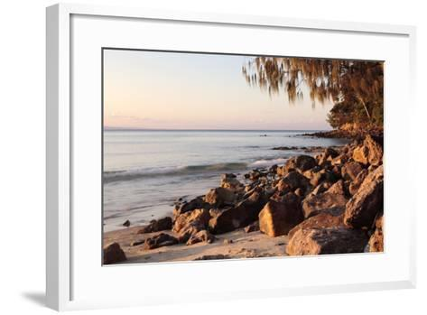 Warm Glow of Sunset on a Boulder-Strewn Beach on Noosa Heads, the Sunshine Coast, Queensland-William Gray-Framed Art Print