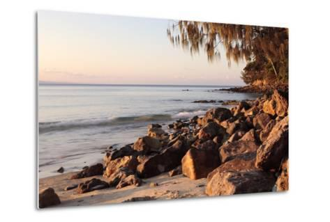 Warm Glow of Sunset on a Boulder-Strewn Beach on Noosa Heads, the Sunshine Coast, Queensland-William Gray-Metal Print