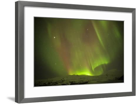 Iceland, Fjallsarlon. the Northern Lights Appearing in the Sky at Fjallsarlonll.-Katie Garrod-Framed Art Print