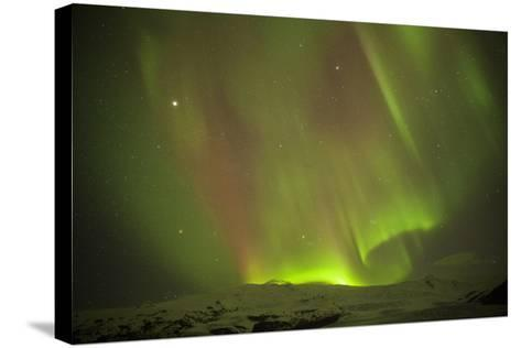 Iceland, Fjallsarlon. the Northern Lights Appearing in the Sky at Fjallsarlonll.-Katie Garrod-Stretched Canvas Print
