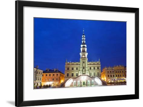Europe, Poland, Zamosc, Rynek Wielki, Old Town Square, Town Hall, Unesco-Christian Kober-Framed Art Print