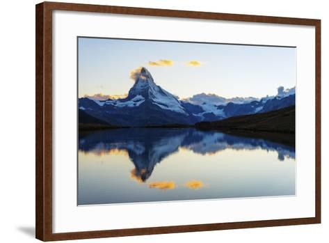 Europe, Switzerland, Valais, Zermatt, Matterhorn (4478M), Stellisee Lake-Christian Kober-Framed Art Print