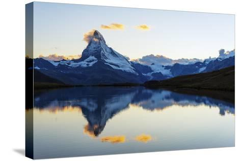 Europe, Switzerland, Valais, Zermatt, Matterhorn (4478M), Stellisee Lake-Christian Kober-Stretched Canvas Print