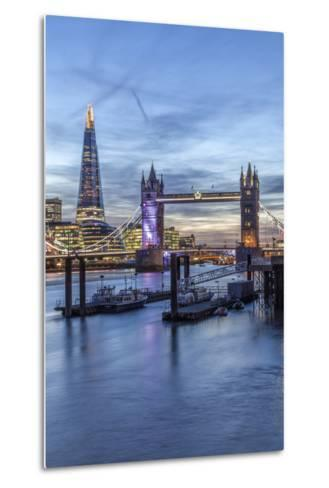 The Tower Bridge in London Seen from the East at Dusk, London, England-David Bank-Metal Print