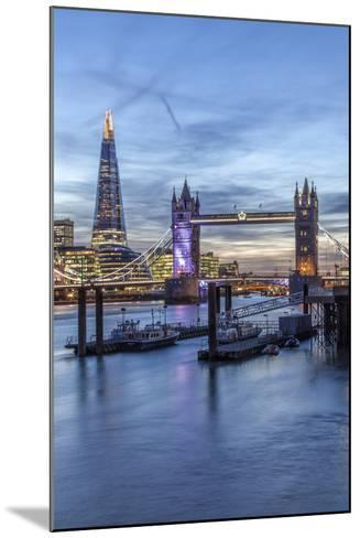 The Tower Bridge in London Seen from the East at Dusk, London, England-David Bank-Mounted Photographic Print