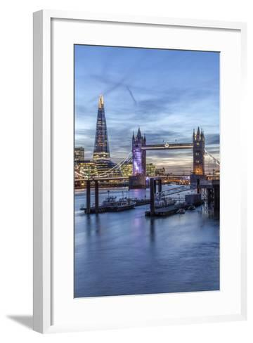The Tower Bridge in London Seen from the East at Dusk, London, England-David Bank-Framed Art Print