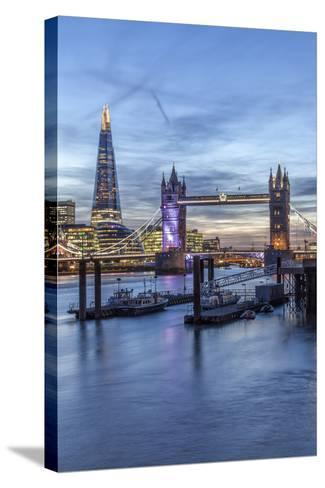 The Tower Bridge in London Seen from the East at Dusk, London, England-David Bank-Stretched Canvas Print