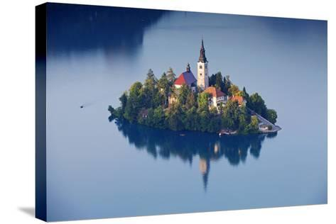 Slovenia, Julian Alps, Upper Carniola, Lake Bled. Aerial View of the Island on Lake Bled-Ken Scicluna-Stretched Canvas Print