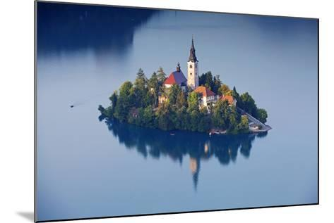 Slovenia, Julian Alps, Upper Carniola, Lake Bled. Aerial View of the Island on Lake Bled-Ken Scicluna-Mounted Photographic Print