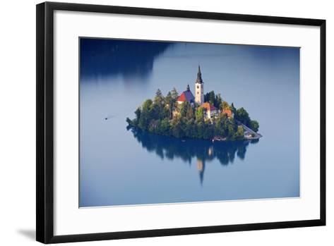 Slovenia, Julian Alps, Upper Carniola, Lake Bled. Aerial View of the Island on Lake Bled-Ken Scicluna-Framed Art Print