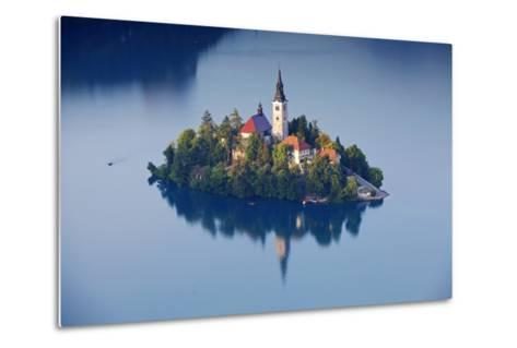 Slovenia, Julian Alps, Upper Carniola, Lake Bled. Aerial View of the Island on Lake Bled-Ken Scicluna-Metal Print