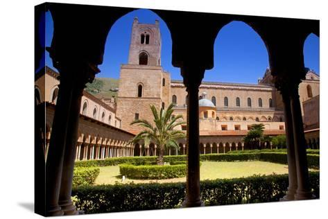 Italy, Sicily, Monreale. the Cathedral Form under the Monastery Arches.-Ken Scicluna-Stretched Canvas Print