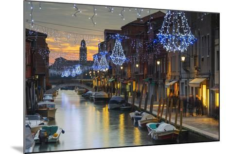 Europe, Italy, Veneto, Venice, Murano, Christmas Decoration on a Canal-Christian Kober-Mounted Photographic Print