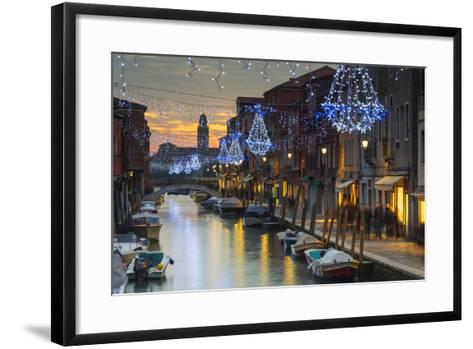 Europe, Italy, Veneto, Venice, Murano, Christmas Decoration on a Canal-Christian Kober-Framed Art Print