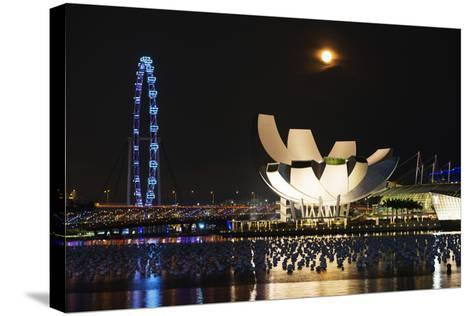 South East Asia, Singapore, Art Science Museum and Full Moon-Christian Kober-Stretched Canvas Print