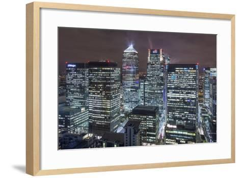 The New London Financial District in the Docklands at Night.-David Bank-Framed Art Print